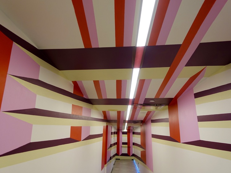 This is the hallway to the elevators at Place Ville Marie to their Observation Deck on the 44/45/46 floors. It is literally like walking into a geometric painting. FFQ for sure!