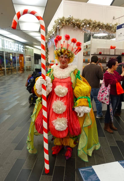 Another of the fun characters at the Nutcracker Market - this time real life.