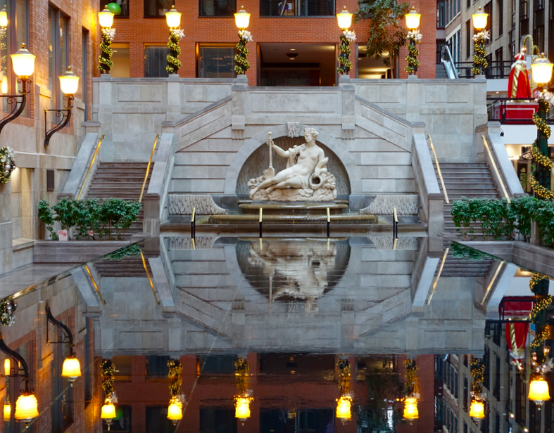 Loved this old world sculpture and reflecting pond that looked like something from Paris or Rome in the World Trade Centre building in Montreal's International District.
