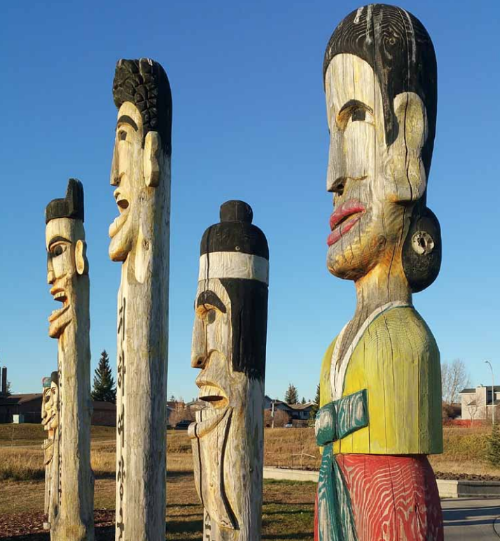 In 2007, six handcrafted totem poles were donated to the City of Airdrie by Gwacheon, Korea to commemorate the 10th year of sharing a sister city relationship. They are now located in Airdrie's  Gwacheon Park.