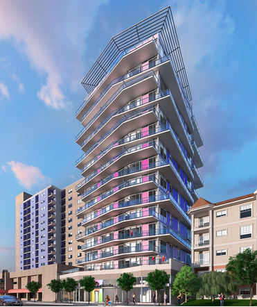Computer rendering of Ink condo in Calgary's bustling East Village community.
