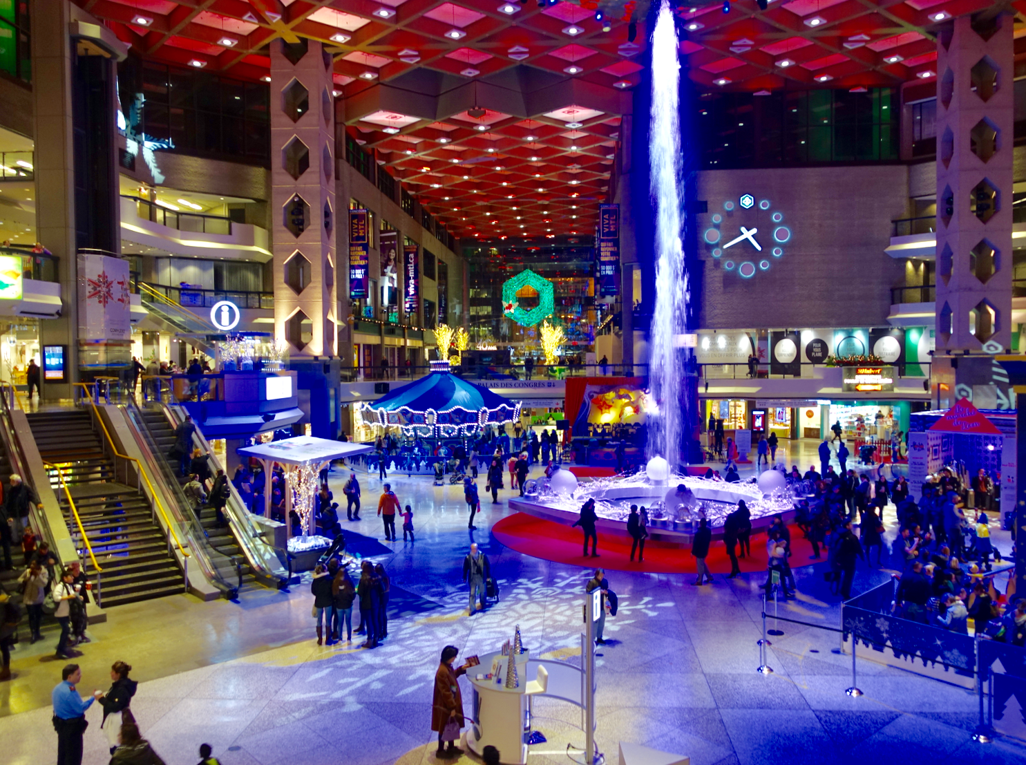 Montreal's Desjardin Complex lobby is an indoor town square, complete with a dancing fountain and year-round programming.