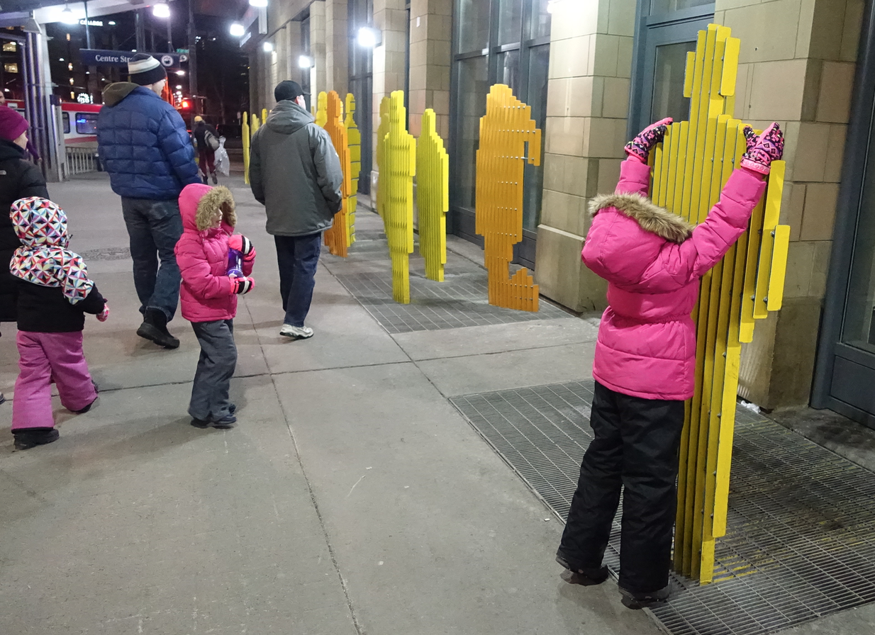 Downtown Calgary's other public art came alive with young children exploring them.