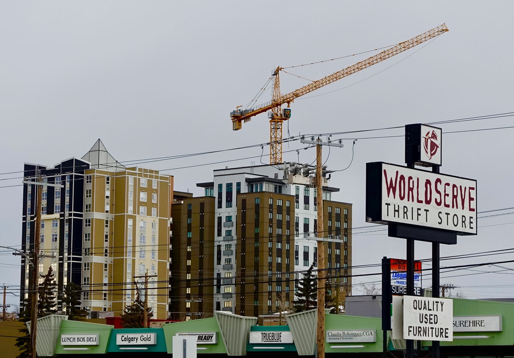 A cluster of mid-rise residential towers is developing at the southwest corner of Manchester.