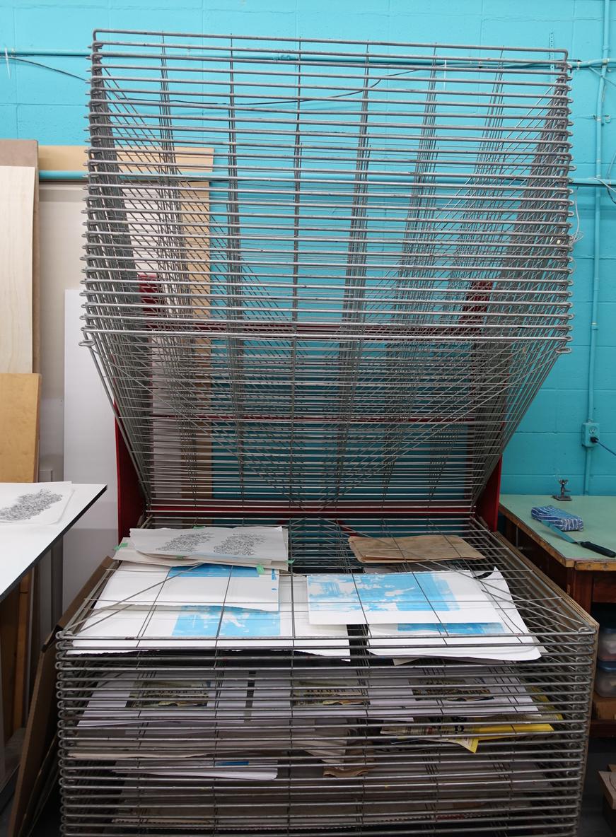 Drying rack at  Alberta Printmaker's Studio .