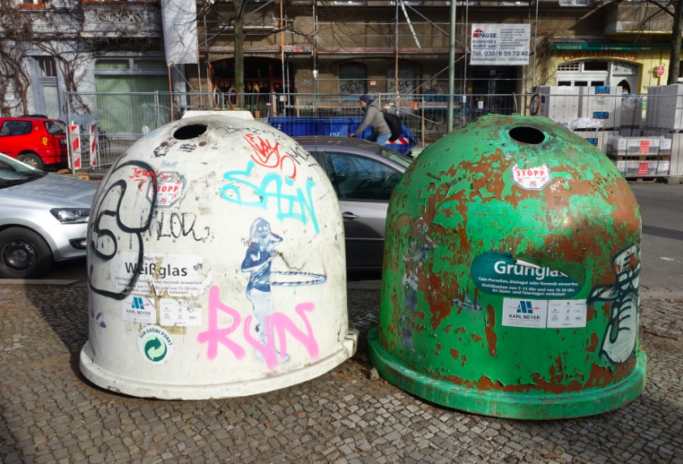 Berlin's iconic garbage cans with their lovely urban patinas?