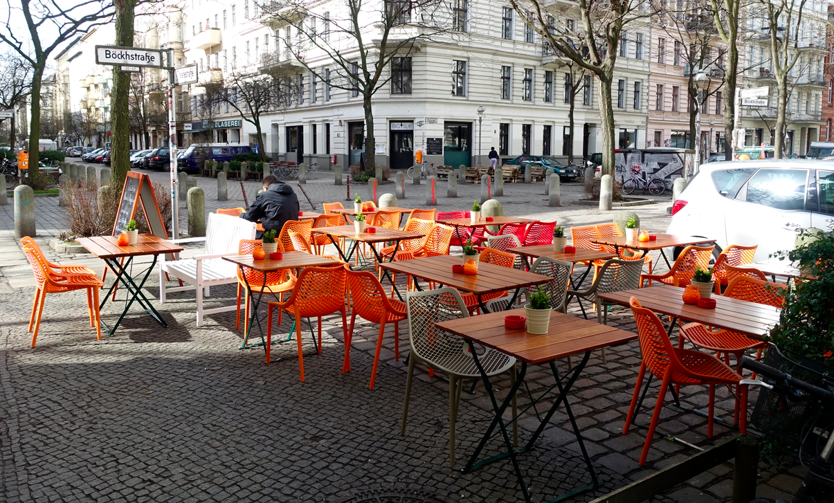 The streets in Berlin's Kreuzberg district were filled with brightly coloured tables,chairs and other ornamentation.