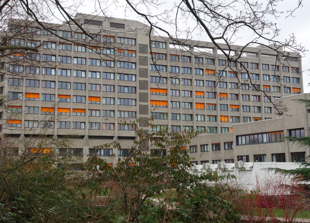 The orange blinds in this hospital change everyday, creating subtle differences.