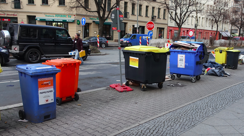 Even the garbage containers are colourful.