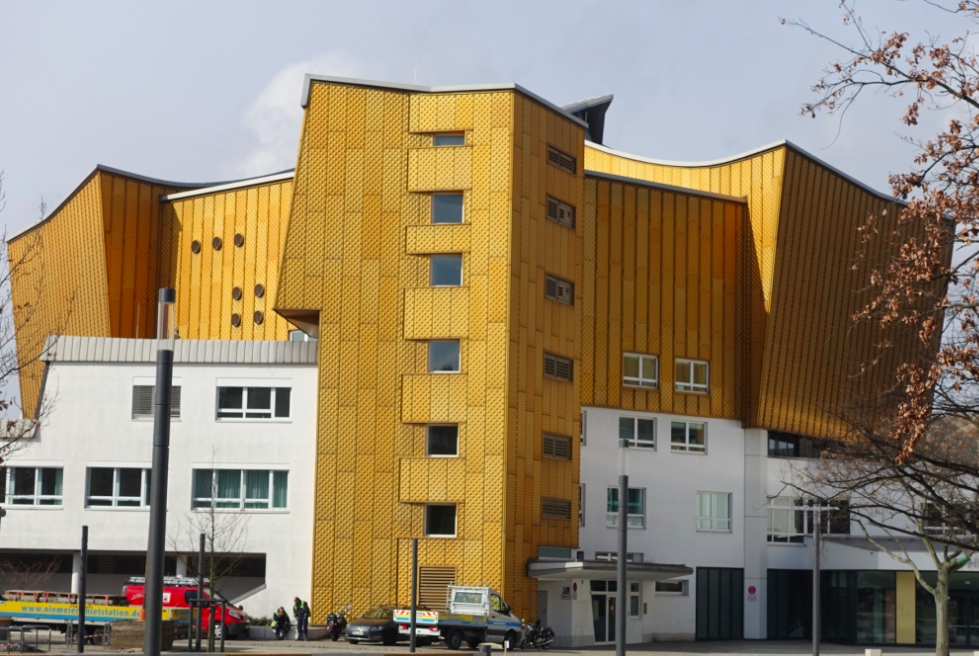 Berlin's new concert hall has a gold facade as does the library across the street.