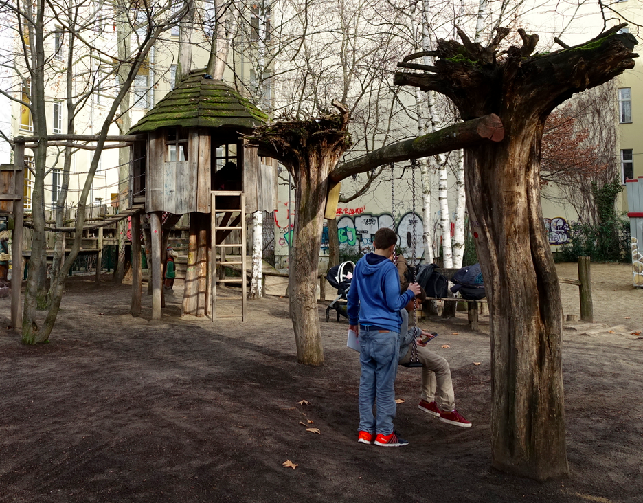 Liked the use of natural trees in this playground, with roots still attached to create a swing.