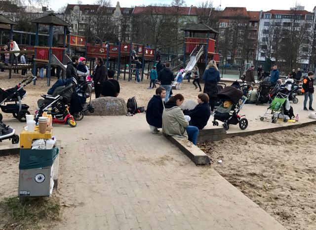 This playground was busy even on a cool day in early March. It was part of a large complex with skatepark across the street, dog park and hard surface playing cages .