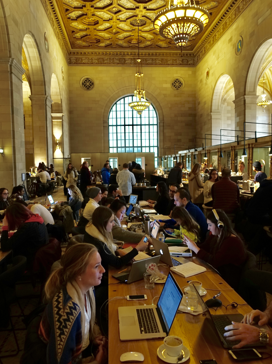 Crew Collective & Cafe in the historic Royal Bank headquarters building is a commercial cafe and shared workspace but in reality, it is a huge study hall for students seven days a week. This was taken on a Sunday.