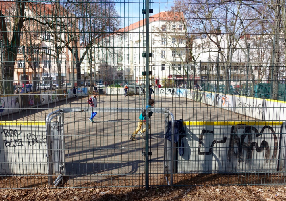 Berlin playground, soccer field.