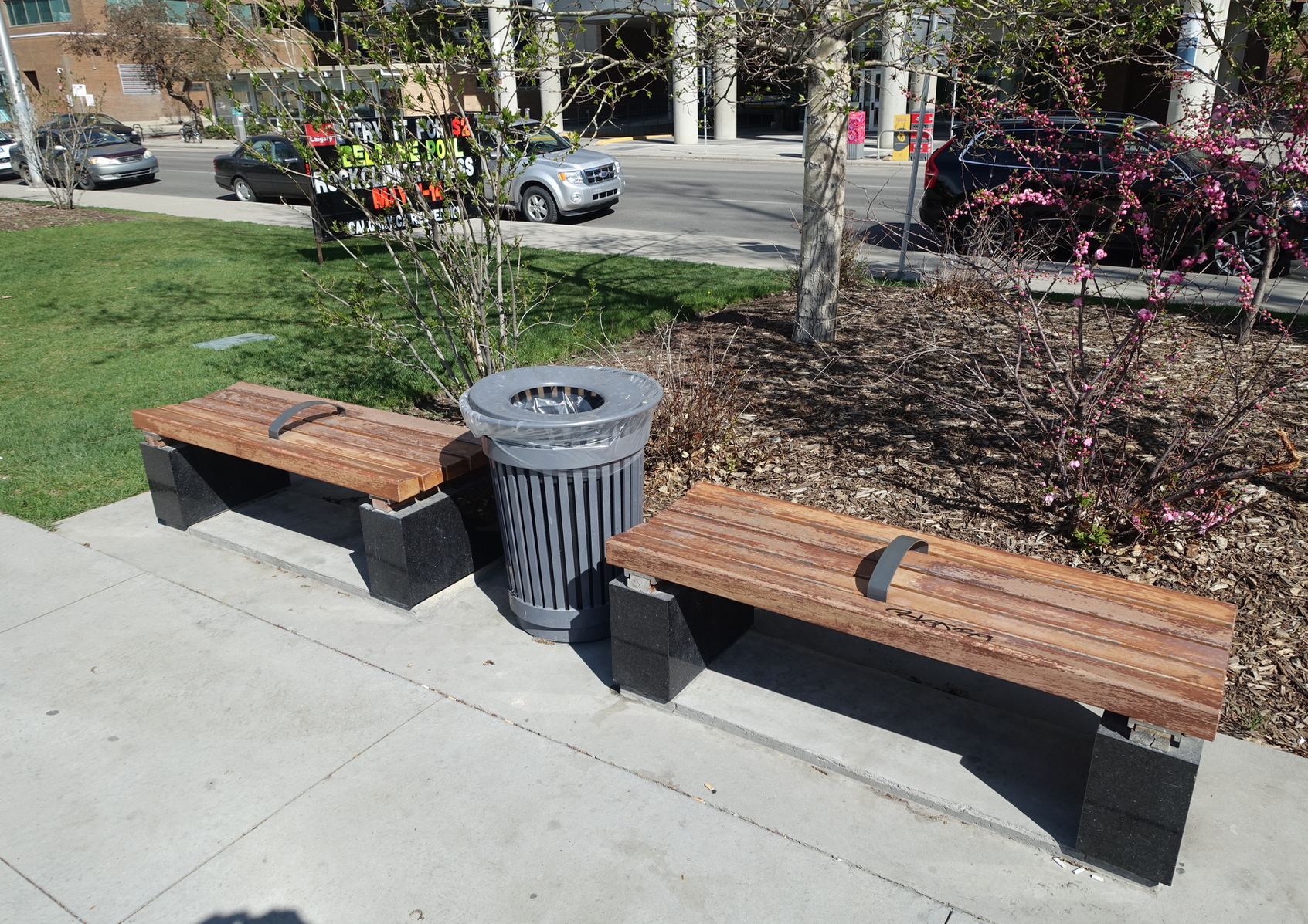 Park benches designed so pickers can't sleep on them.