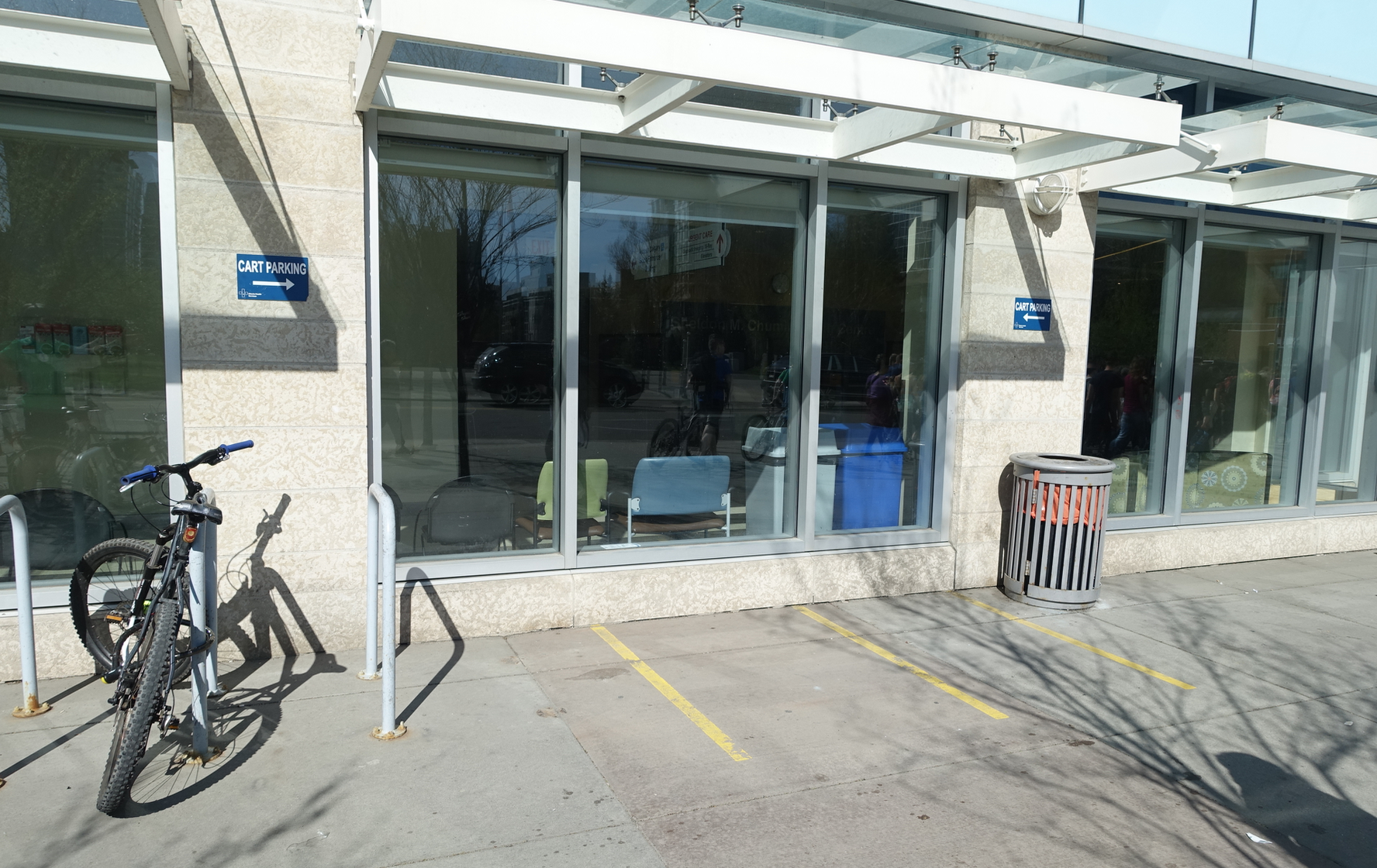 Cart parking spots for pickers at the front entrance of the Sheldon Chumir Health Centre are never used.