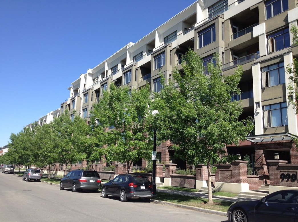 The General Hospital site in Bridgeland has been redeveloped with condos that increase the density but still have a suburban character with townhomes that include front yards and porches.