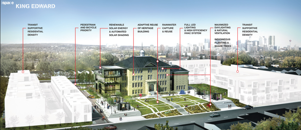 Original concept for King Edward School redevelopment school being transformed into a cultural hub with residential on either side.  The Residences of King Edward are on the left side, with seniors' housing on the right.   Link: cSPACE