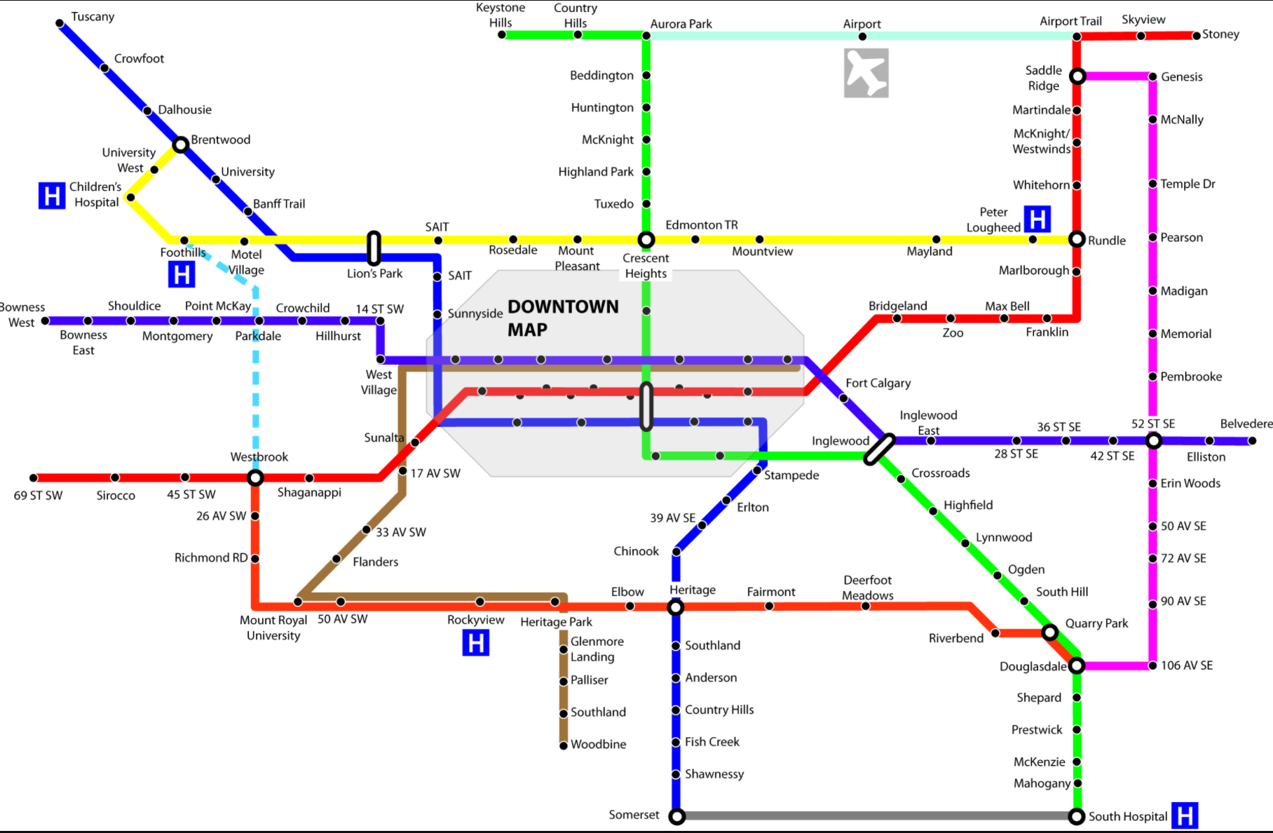 To be fair, Calgary has plans to develop its LRT and BRT service with more crosstown routes in the future. Today only the Blue and Red lines exist.