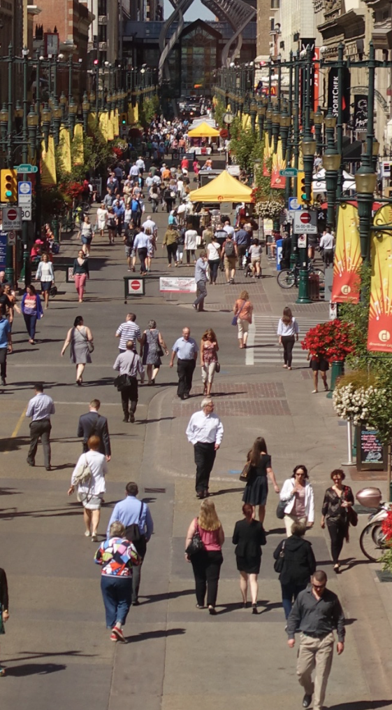 "Stephen Avenue pedestrian mall which dates back to 1970 was one of Calgary's first attempts in modern times to employ the new urban design philosophy of ""pedestrians first."""