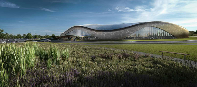 The futuristic looking new Rocky Ridge Recreation Center is a absolutely stunning was designed by Calgary's GEC architecture, who also designed the Saddledome and Olympic Oval. Cost $191M.