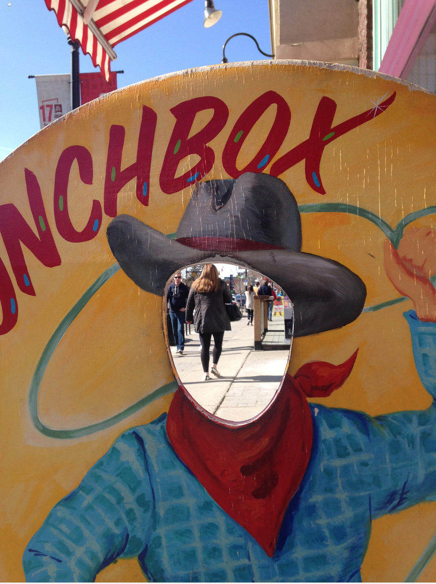 Tacky cowboy icon on the Red Mile is too much fun.