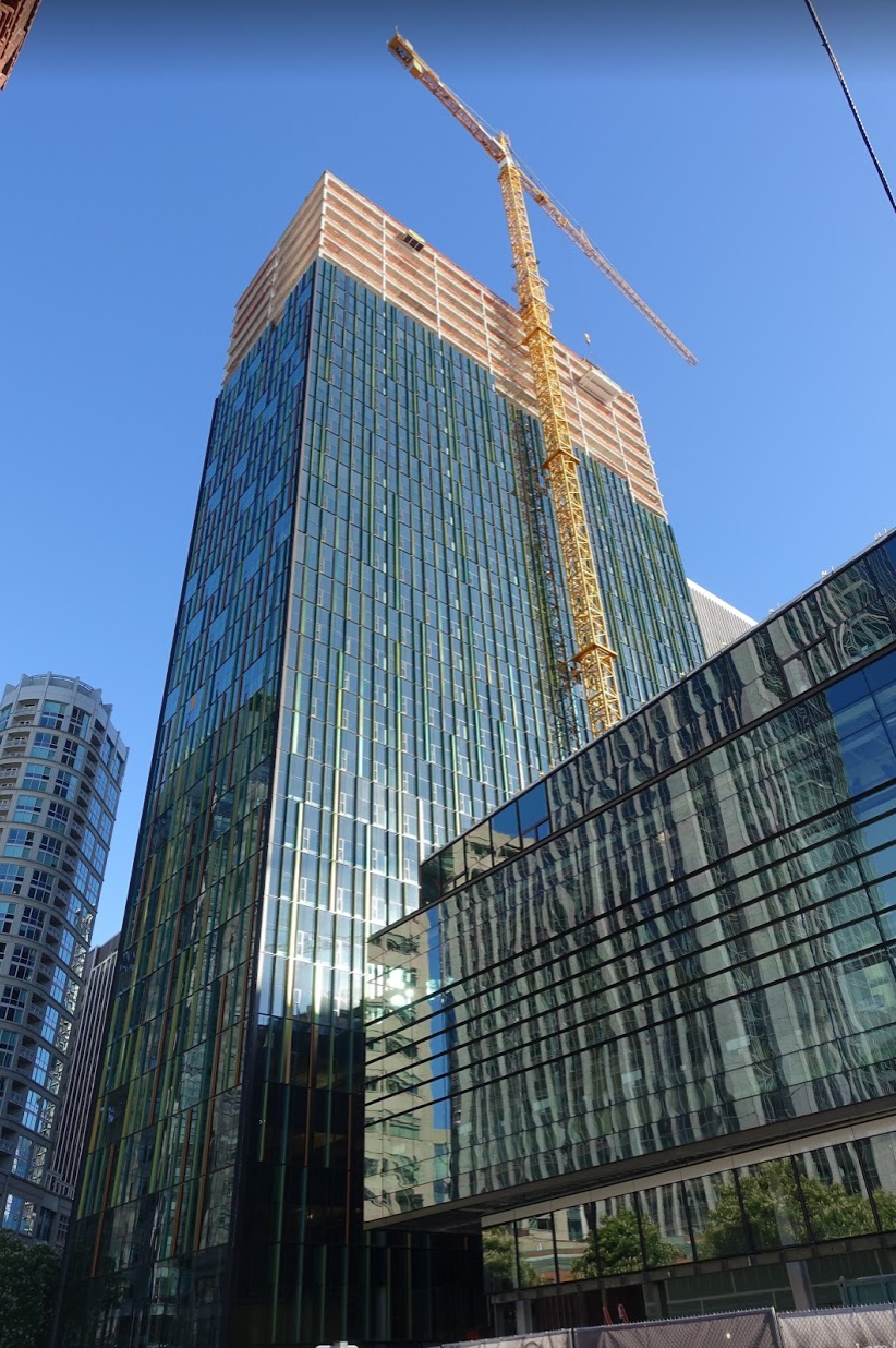 Just one of several new office towers being built for the Amazon campus in downtown Seattle. They are all quite spectacular.