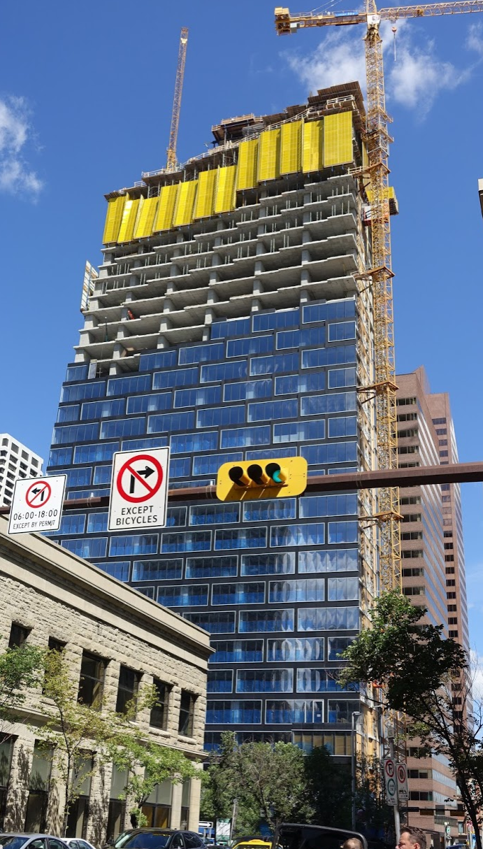 Telus Sky currently under construction at 7th Avenue and Centre St. will have 422,000 sq.ft. of office space on the lower level and 341 residential units on the top floors. It has been designed by the world renown architecture firm Bjarke Ingels Group.