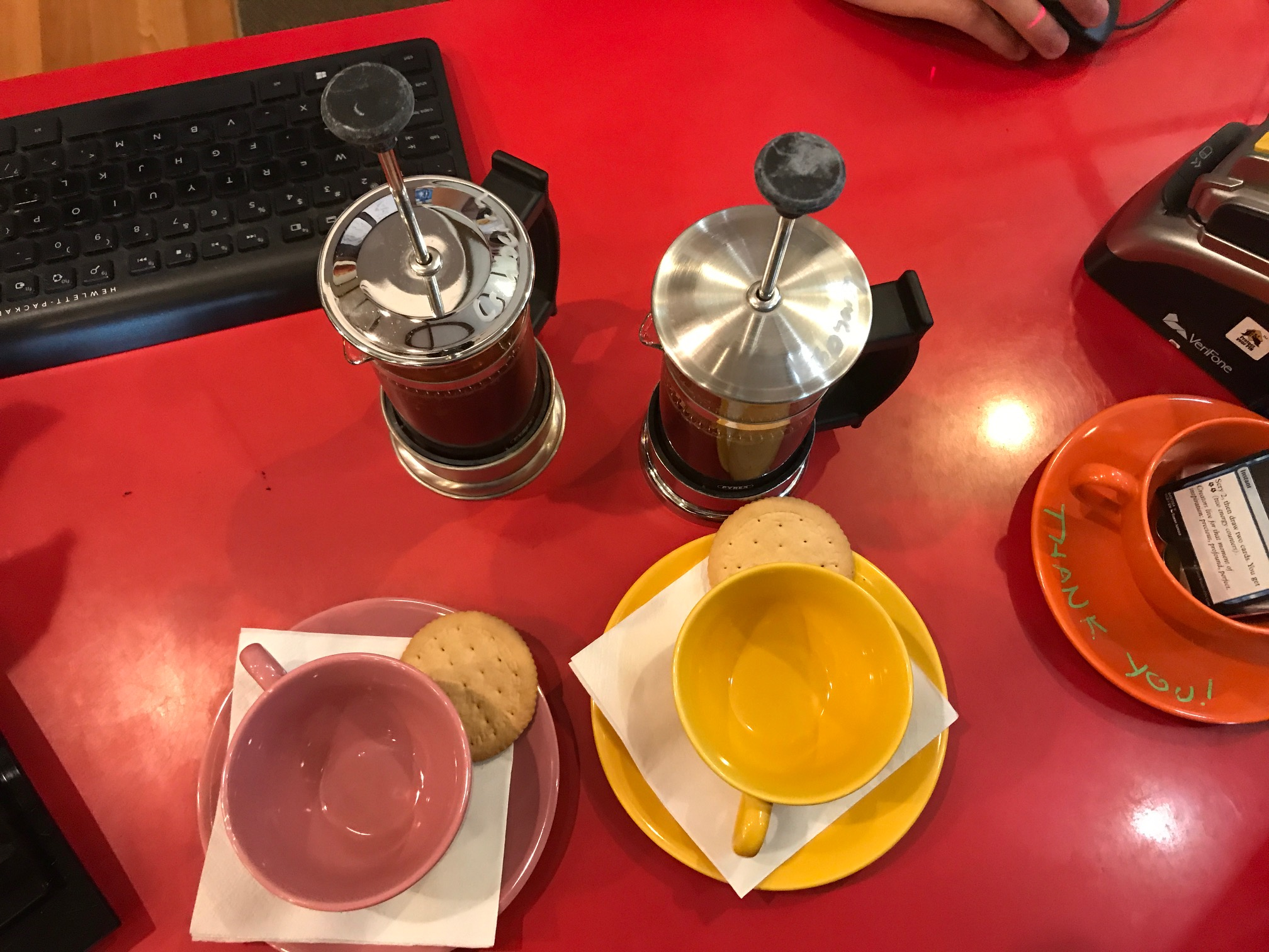 We loved the colourful, modern retro design of our cups and pot of tea. The biscuits were a nice touch.