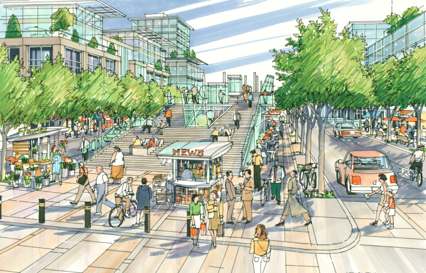 The West Village plan calls for several plaza and pedestrian oriented streets.
