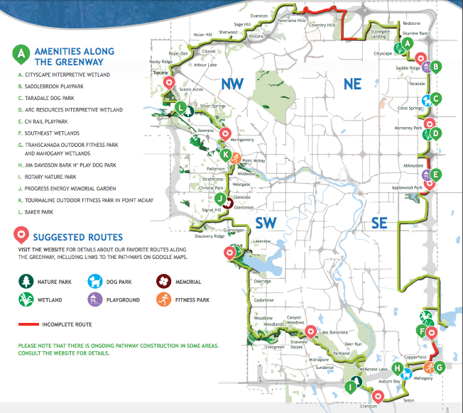 Calgary's 138 km Rotary/Mattamy Greenway circles the city. And yes we are working on the completion of a ring road around the city also.