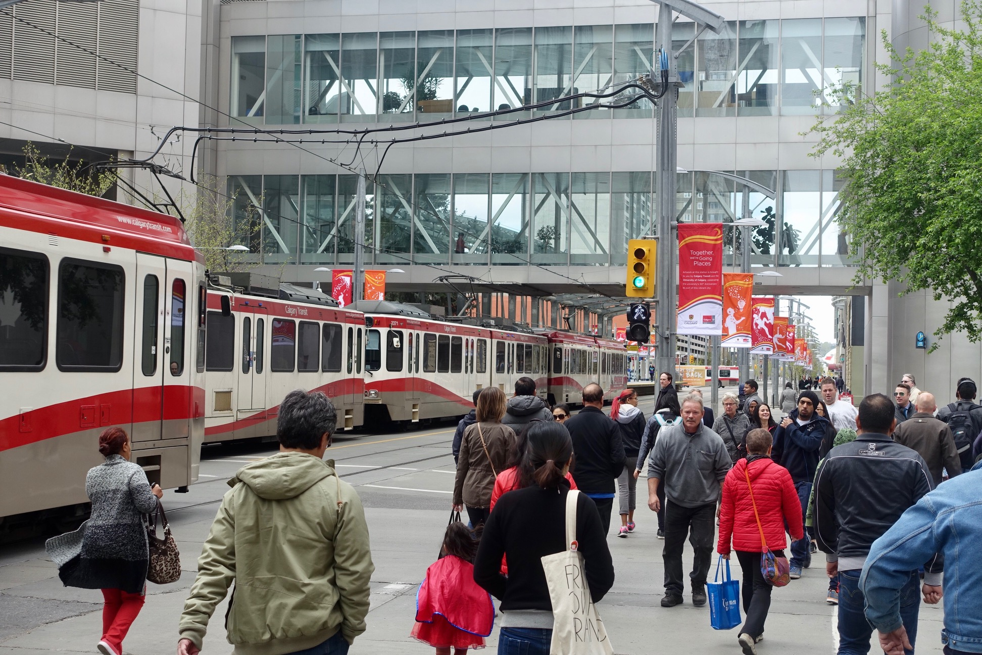 Downtown's 7th Avenue Transit Corridor is the hub for Calgary's transit system.