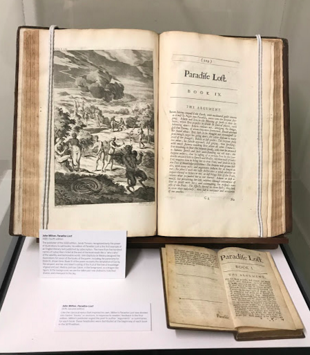 There are actually two edition of Milton's Paradise Lost in the collection a fourth edition (top, 1688) and second edition (bottom, 1674).