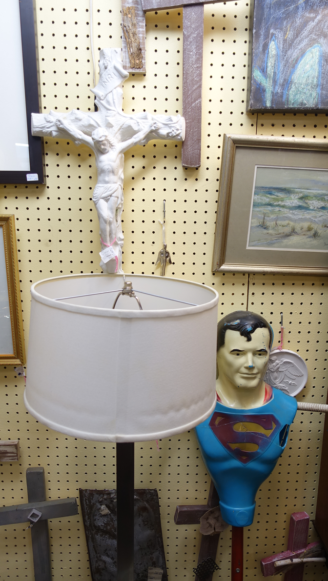 In fact I found this juxtaposition of Christ and Superman in the Tennessee Antique Mall - very quirky.