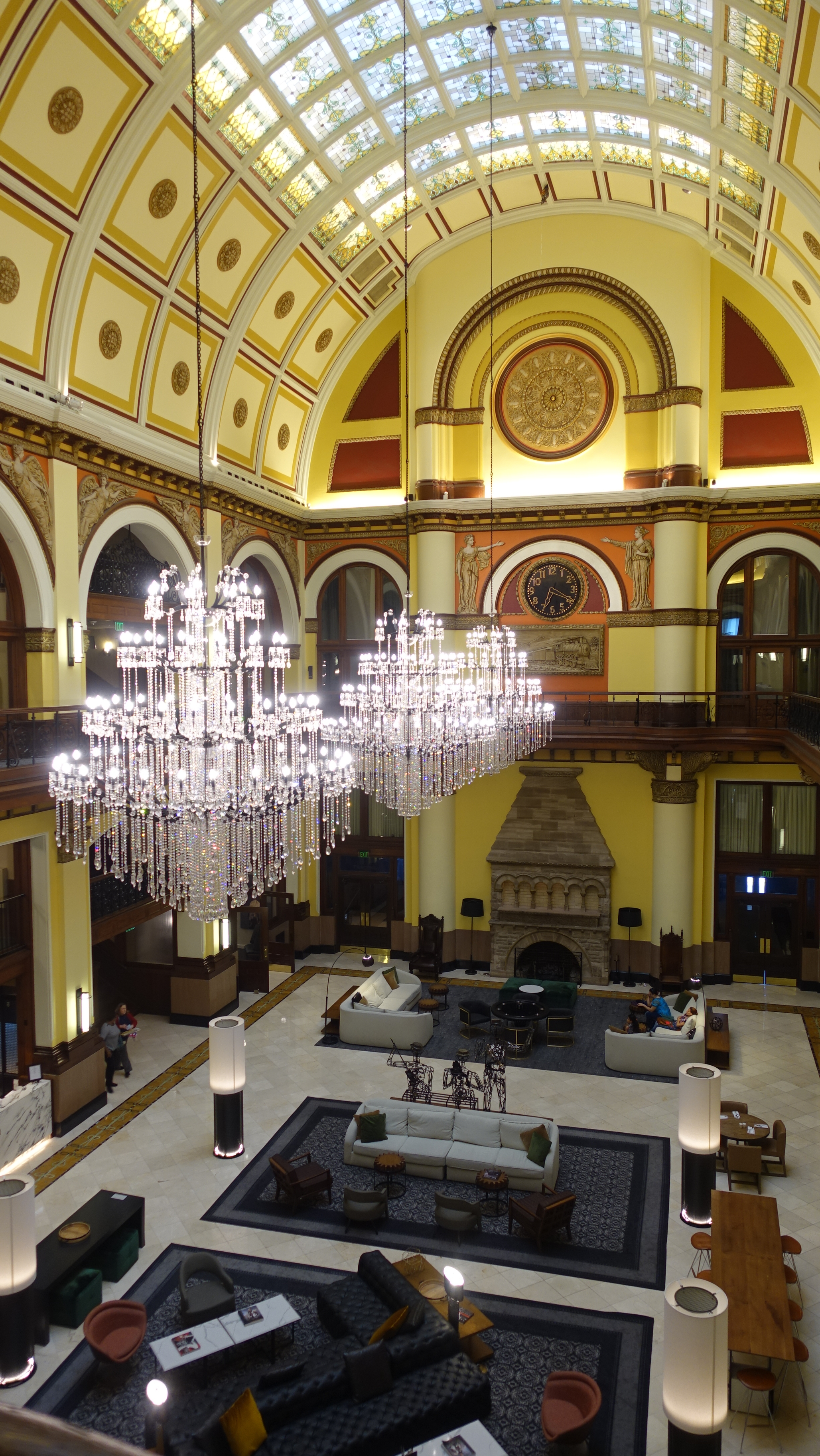 The lobby of Nashville's Union Station Hotel (yes, it is a converted historical railway station) is impressive.