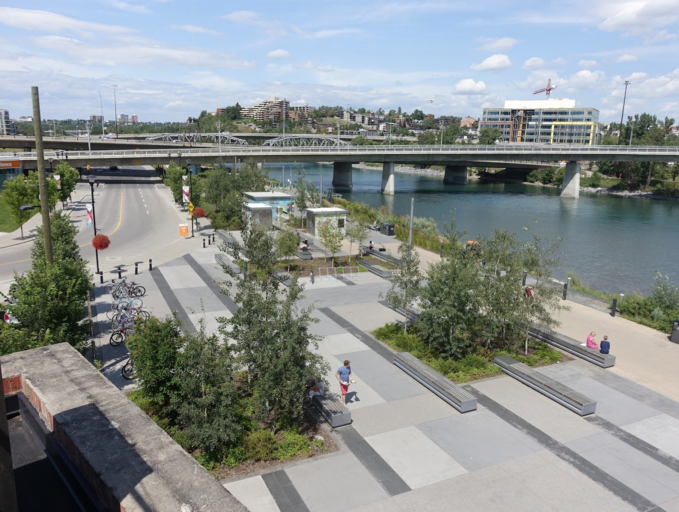 Calgary's equivalent to Nashville's green beach would be the East Village plaza along the Bow River .