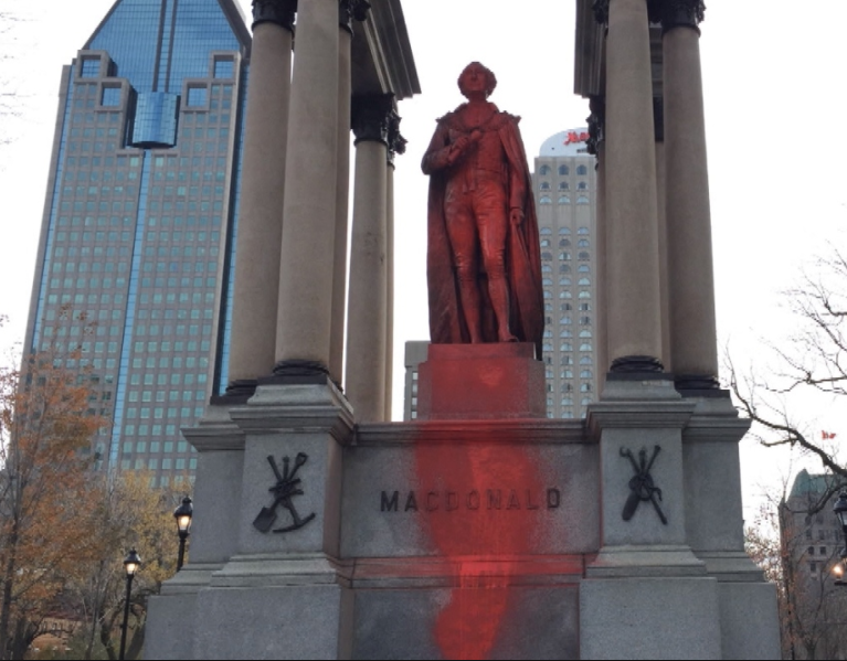 John A. MacDonald statue smeared with red paint in Montreal.