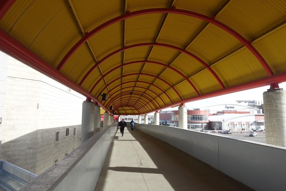 Stampede/Saddledome pedestrian bridge/corridor.