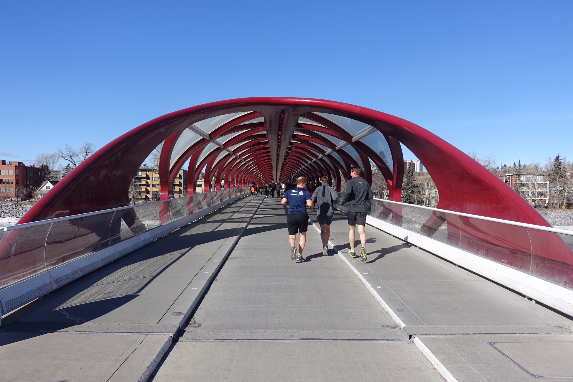 Peace Bridge over Bow River connects Eau Claire with Sunnyside.