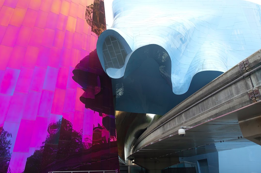 The facade of Seattle's Museum of Pop Culture is an ever changing work of abstract art.