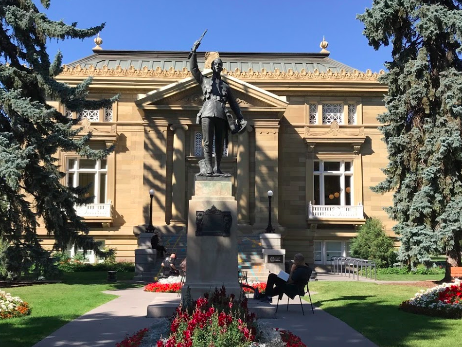 Alberta's first library, Calgary's Memorial Park Library built in 1912 was funded in part by American philanthropist Andrew Carnegie.   More info at:  Memorial Park History