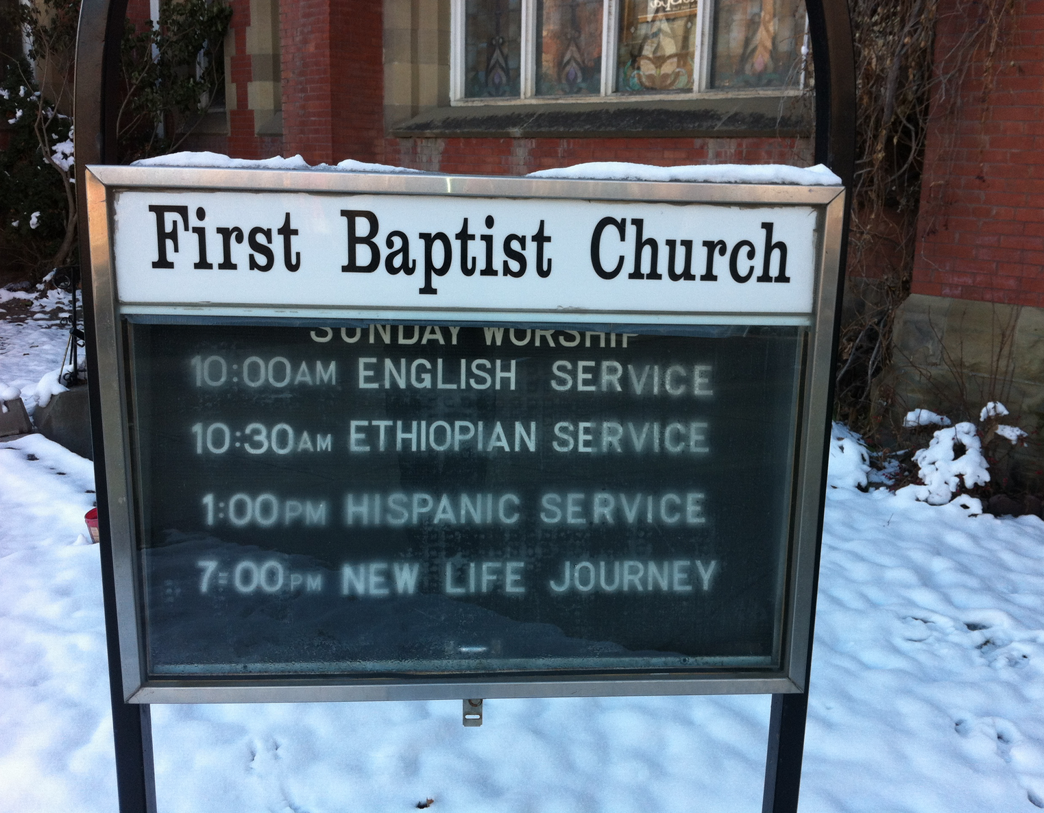 "You know a neighbourhood is cool when a church offers services in English, Ethiopian and Hispanic every Sunday and to top it off offers a ""New Life Journey"" Sunday evening."