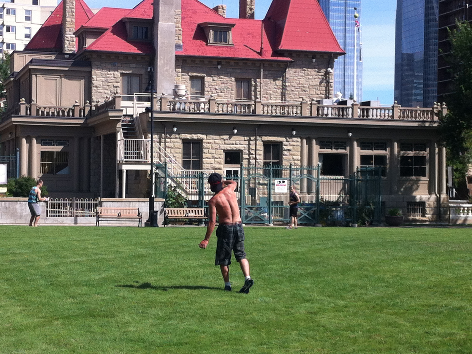 The lawn behind the Lougheed House makes for perfect playing field.