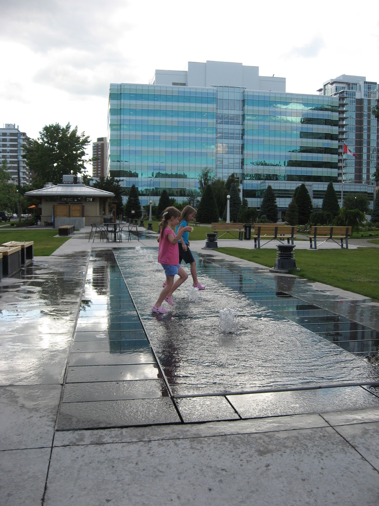 Memorial Park is Calgary's oldest park, recent renovations added this playful fountain, a restaurant and more seating.