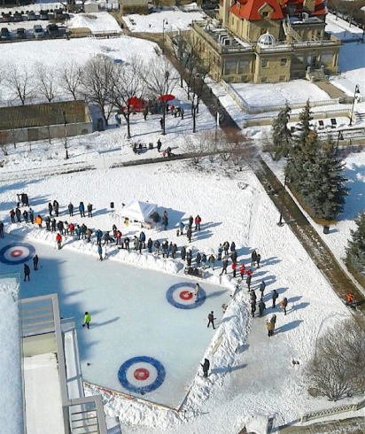 In the winter this same space becomes a curling rink for the Beltline Bonspiel. (photo credit: Lougheed House)