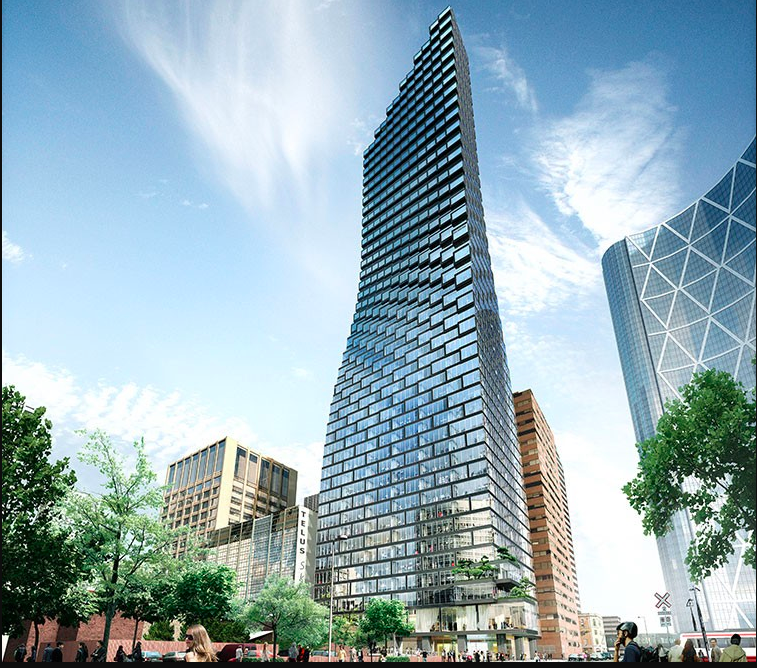 TelusSky Tower is currently under construction in Calgary.  The bottom floors will be office space for Telus, while the upper floors will be residential.