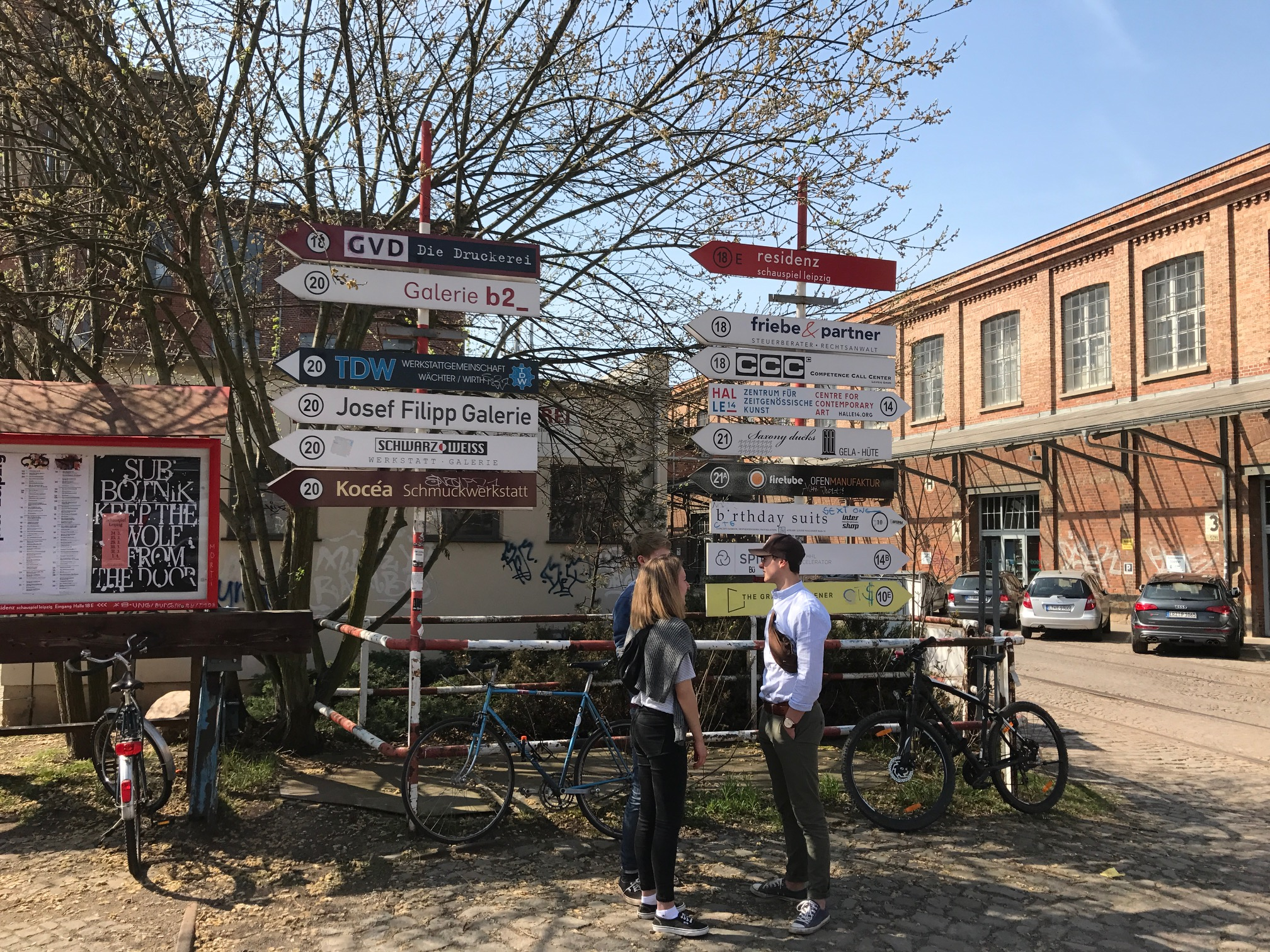 Entrance to Spinnerei an artists colony with dozens of galleries, studios and other related small businesses in a former cotton factor in Leipzig, Germany.
