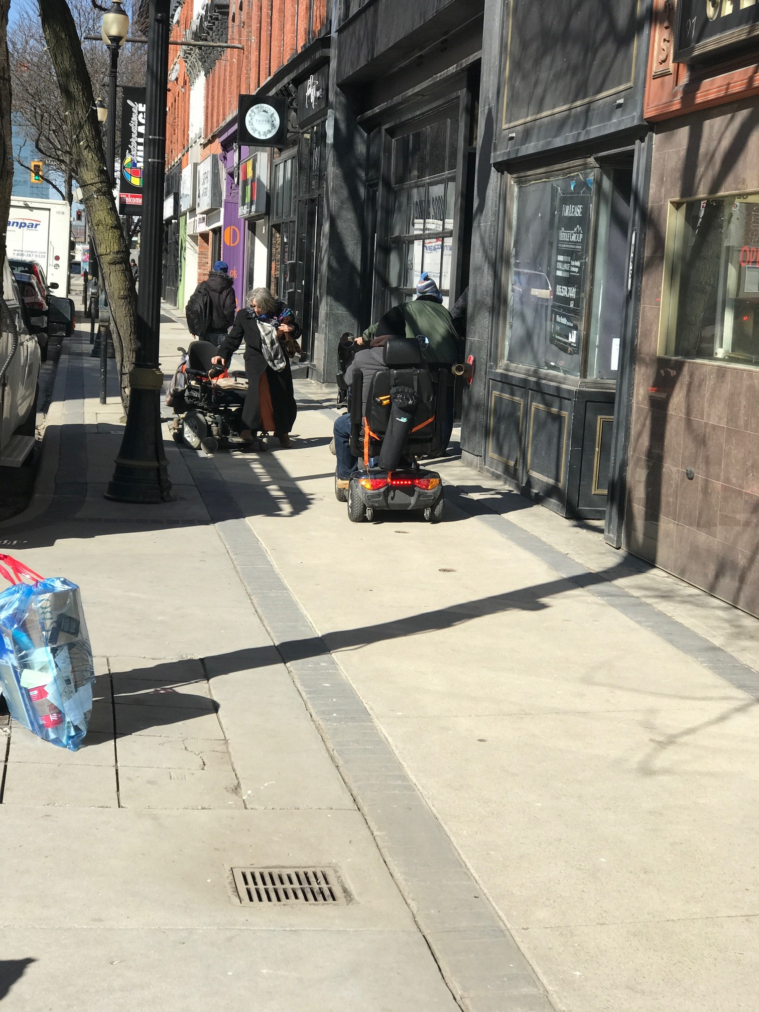 One of the strangest things about Hamilton's City Centre is the number of scooters you encounte r.   They replace the mega strollers of cities like Calgary.