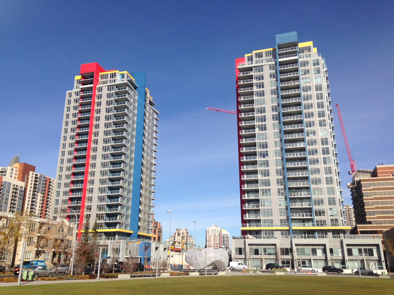 Funky new residential towers, next to Barb Scott Park.