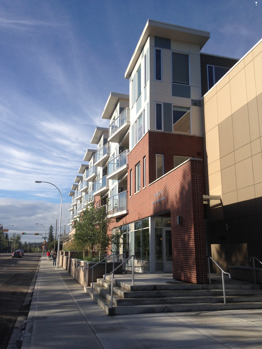 Human scale condo on 19th St NW add to the potential of creating a vibrant main street with neighbourhood shops at street level along 19th St NW.